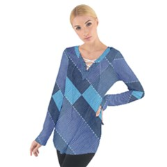 Fabric Textile Texture Blue Shades Women s Tie Up Tee