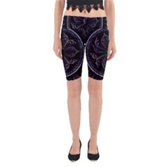 Fractal Abstract Purple Majesty Yoga Cropped Leggings