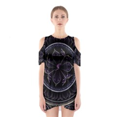 Fractal Abstract Purple Majesty Cutout Shoulder Dress