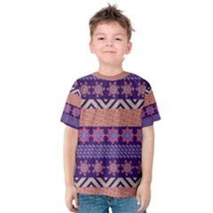 Colorful Winter Pattern Kids  Cotton Tee