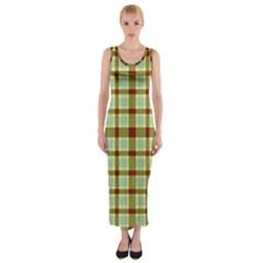Geometric Tartan Pattern Square Fitted Maxi Dress