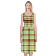 Geometric Tartan Pattern Square Midi Sleeveless Dress