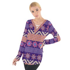 Colorful Winter Pattern Women s Tie Up Tee