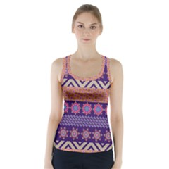 Colorful Winter Pattern Racer Back Sports Top