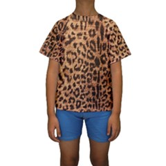 Leopard Print Animal Print Backdrop Kids  Short Sleeve Swimwear