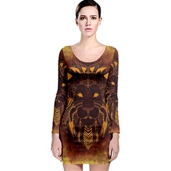 Lion Wild Animal Abstract Long Sleeve Bodycon Dress