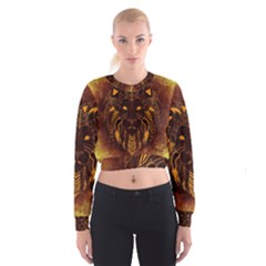 Lion Wild Animal Abstract Women s Cropped Sweatshirt