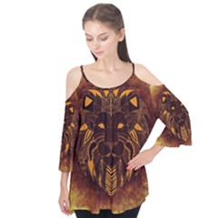 Lion Wild Animal Abstract Flutter Tees