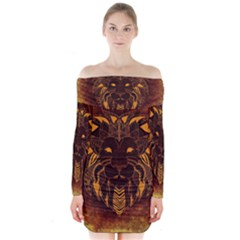 Lion Wild Animal Abstract Long Sleeve Off Shoulder Dress