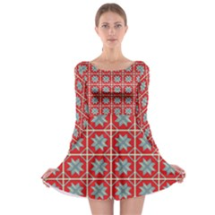 Pattern Backdrop Fabric Background Long Sleeve Skater Dress