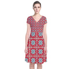 Pattern Backdrop Fabric Background Short Sleeve Front Wrap Dress
