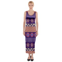 Colorful Winter Pattern Fitted Maxi Dress