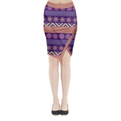 Colorful Winter Pattern Midi Wrap Pencil Skirt