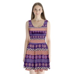 Colorful Winter Pattern Split Back Mini Dress