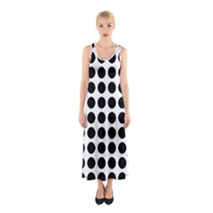 Pattern Dots Grid Circle Creative Sleeveless Maxi Dress