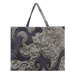 Pattern Fabric Textile Brown Beige Zipper Large Tote Bag