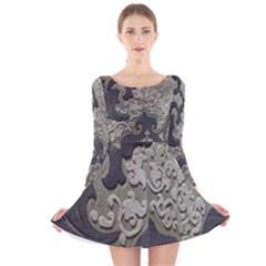 Pattern Fabric Textile Brown Beige Long Sleeve Velvet Skater Dress