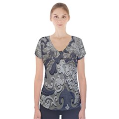 Pattern Fabric Textile Brown Beige Short Sleeve Front Detail Top