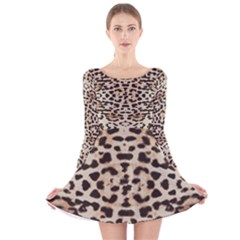 Pattern Leopard Skin Background Long Sleeve Velvet Skater Dress