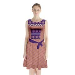 Colorful Winter Pattern Sleeveless Chiffon Waist Tie Dress