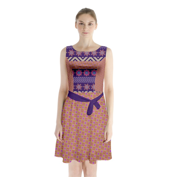 Colorful Winter Pattern Sleeveless Chiffon Waist Tie Dress