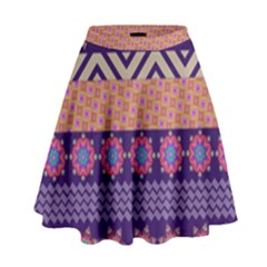 Colorful Winter Pattern High Waist Skirt