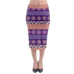 Colorful Winter Pattern Midi Pencil Skirt