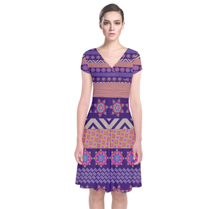 Colorful Winter Pattern Short Sleeve Front Wrap Dress