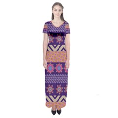 Colorful Winter Pattern Short Sleeve Maxi Dress