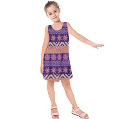Colorful Winter Pattern Kids  Sleeveless Dress