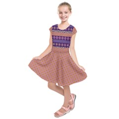 Colorful Winter Pattern Kids  Short Sleeve Dress