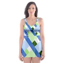 Plaid Diagonal Geometric Shapes Skater Dress Swimsuit