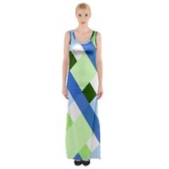 Plaid Diagonal Geometric Shapes Maxi Thigh Split Dress