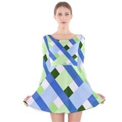 Plaid Diagonal Geometric Shapes Long Sleeve Velvet Skater Dress