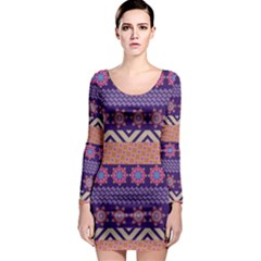 Colorful Winter Pattern Long Sleeve Bodycon Dress