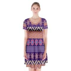 Colorful Winter Pattern Short Sleeve V Neck Flare Dress