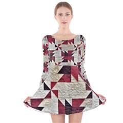 Prize Winning Quilt Triangle Design Long Sleeve Velvet Skater Dress