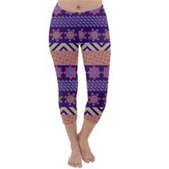 Colorful Winter Pattern Capri Winter Leggings