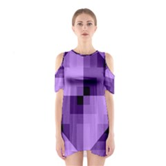 Purple Geometric Fabric Cutout Shoulder Dress