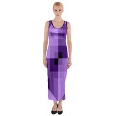 Purple Geometric Fabric Fitted Maxi Dress