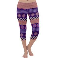 Colorful Winter Pattern Capri Yoga Leggings