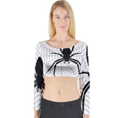 Spider Web Spider Web Insect Long Sleeve Crop Top