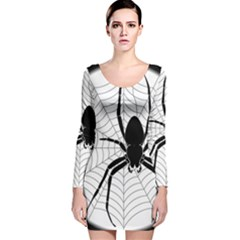 Spider Web Spider Web Insect Long Sleeve Velvet Bodycon Dress