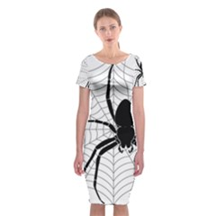 Spider Web Spider Web Insect Classic Short Sleeve Midi Dress