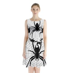 Spider Web Spider Web Insect Sleeveless Chiffon Waist Tie Dress