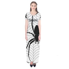 Spider Web Spider Web Insect Short Sleeve Maxi Dress