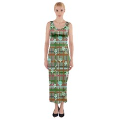Textile Design Fitted Maxi Dress