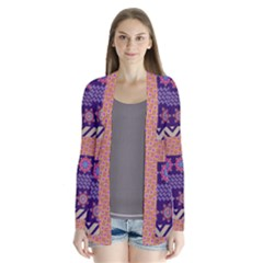 Colorful Winter Pattern Drape Collar Cardigan