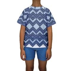 Textile Texture Fabric Zigzag Blue Kids  Short Sleeve Swimwear