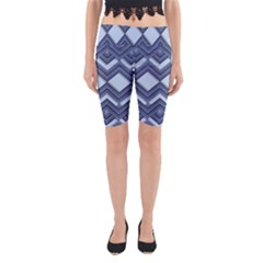 Textile Texture Fabric Zigzag Blue Yoga Cropped Leggings